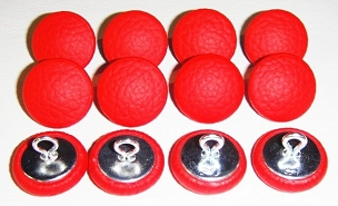 12 Pieces Wire Eye Button - Bright Red