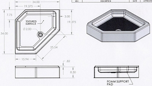 34 x 34 HEX Shower Pan 7