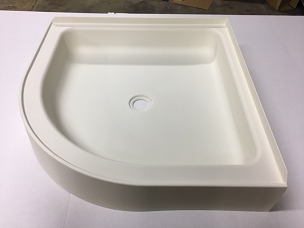 27 x 27 Curved Front Corner Shower Pan Off-White