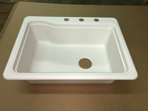 25 x 19 Single Bowl American Stonecast Sink - Bone