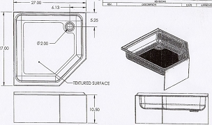 27 x 27 Corner Shower Pan