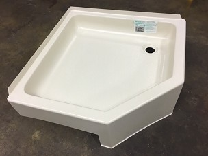 27 x 27 Corner Shower Pan Right Side Drain
