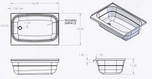 36 x 24 Bathtub Left Hand Drain