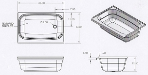 36 x 24 Bathtub Right Hand Drain