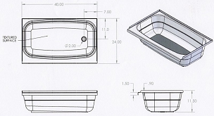 40 x 24 Bathtub Right Hand Drain