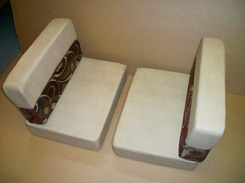 Set 25 Stock Dinette Cushions Light Tan Redwoods Fabric