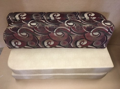 "Set  47"" Dinette Cushions In Light Beige Vinyl And Vertigo Redwoods Fabric"